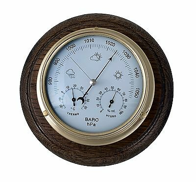 Brass Barometer With Integral Thermometer / Hygrometer And Oak Mount.