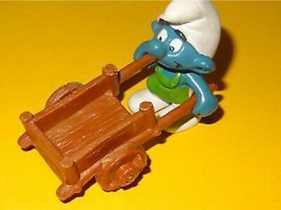 Smurfs Wheelbarrow Gardener Super Smurf Rare Vintage Display Figurine