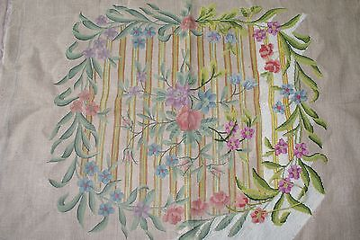 Vintage Floral Needlepoint Wool Pre-worked Canvas 32 x 34 French