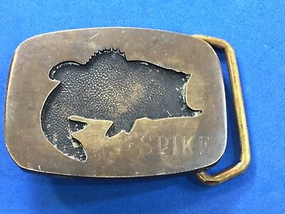 Vintage Jumping Fish BASS - Nature  Belt Buckle    - Solid Brass BTS  / SPIKE