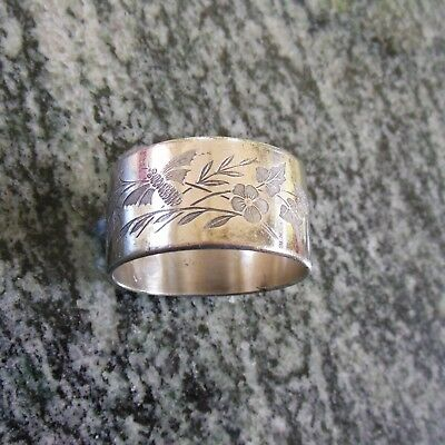 Antique Victorian Silverplated Engraved Napkin Ring Bee Leaves & Flowers No Mono