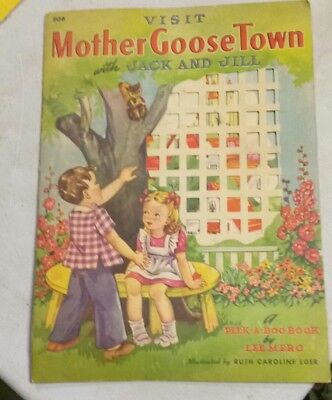 1942 Whitman Visit Mother Goose Town with Jack and Jill - Children's book