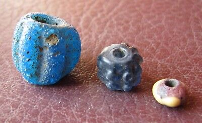 Authentic Ancient Lake Ladoga VIKING Artifact > Lot of 3 Necklace Beads RJ 58