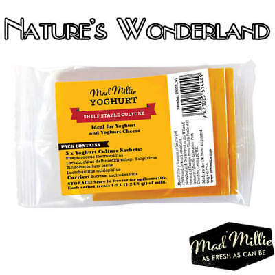 YOGHURT Dairy Free CULTURE 5 Sachets 100 Million PROBIOTIC Bacteria - Mad Millie