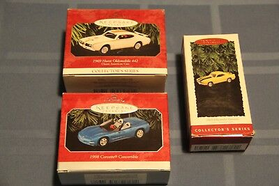 Hallmark Ford Oldsmobile and Chevy ornament lot of 3