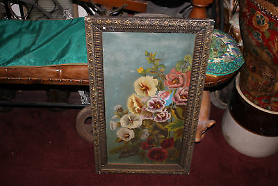 Antique Victorian Oil Painting On Canvas-Colorful Flowers-Leaf Wood Frame-Floral