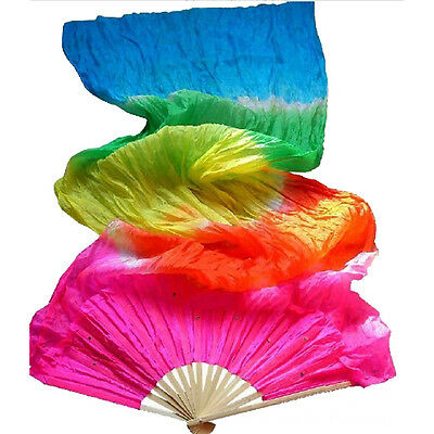 Colorful Multicolor Hand Made Belly Dance  Silk Bamboo Long Fan Veils 1.8m QH