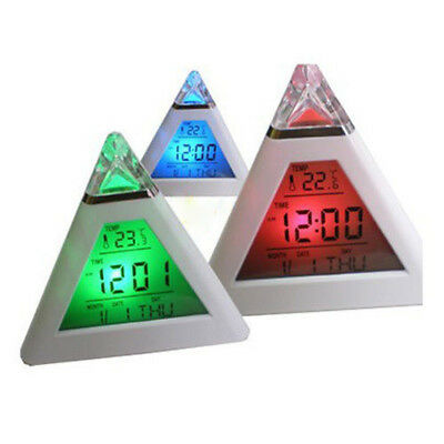 7 Color Digital LCD Pyramid Triangle Change Thermometer Alarm Clock