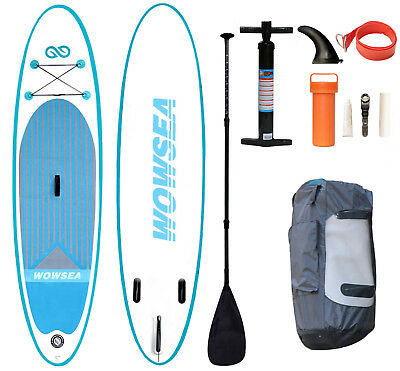 """WOWSEA 10ft Surf Board Inflatable Stand Up Paddle Board SUP Full Kit 10'5""""X32""""X6"""