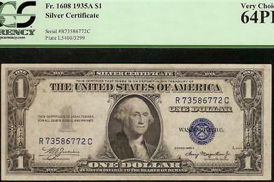 Unc 1935 A $1 Dollar Bill Early Silver Certificate Blue Seal Note Pcgs 64 Ppq