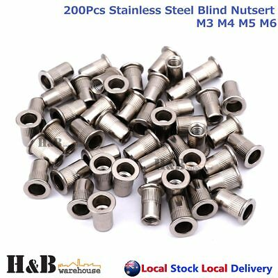 200Pcs Nutserts Rivet Nuts Flange Blind Rivnuts Stainless Steel M3 M4 M5 M6
