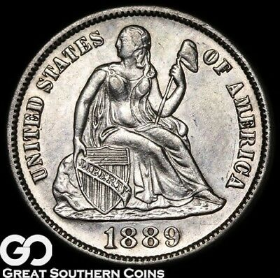 1889-S Seated Liberty Dime, Very PL Look, Choice BU Silver Type!