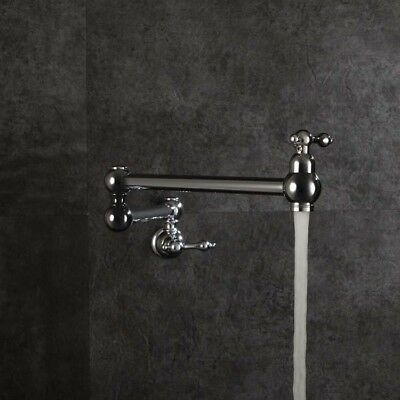 Antique Wall Mount Pot Filler Chrome Brass Swing Spout Kitchen Sink Faucet Tap