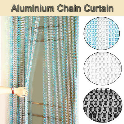 Silver Aluminium Metal Fly Screen Chain Link Door Insect Curtain Pest Control