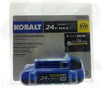NEW Kobalt KB 224-03 24-Volt 24V MAX 2.0 AH Lithium Ion Battery Free Shipping