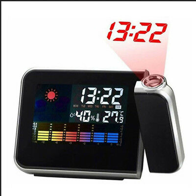 Alarm Clock Weather Station w/ Temperature Thermometer Humidity Projector Clock