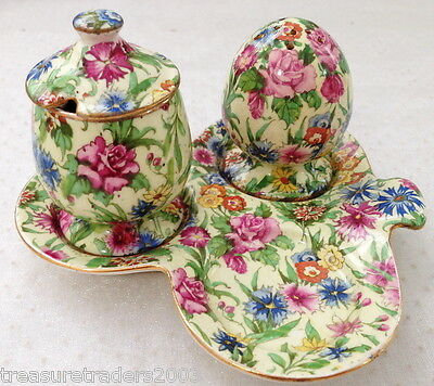 ♡ Royal Winton Chintz ' Kew ' Part Cruet Set Salt Shaker Mustard Pot On Tray