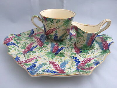 ♡ Royal Winton  Chintz ' Delphinium' Part Breakfast Set On Tray
