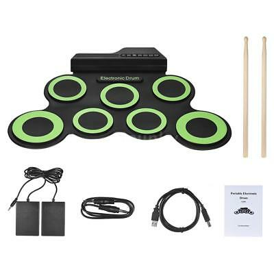 Digital Electronic Roll Up Drum Kit 7 Silicon Drum Pads USB Powered Y6L8