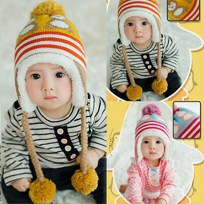 Cute Baby Boys Girls Kids Winter Warm Hats Crochet Earflap Cap Beanie Gift