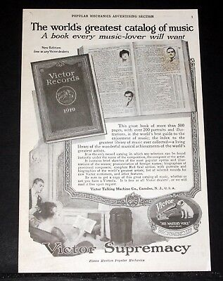 1919 Old Magazine Print Ad, Victor Victrola Phonograph, And 1919 Victor Records!