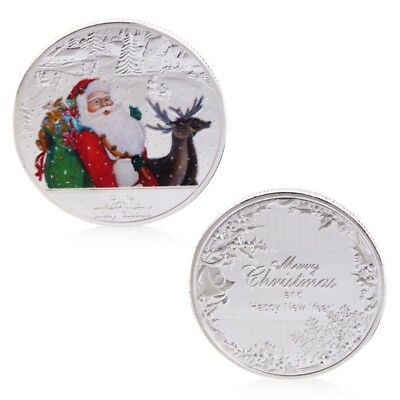 Silvery Merry Christmas Santa Claus Deer New Year Commemorative Coin Gift Craft