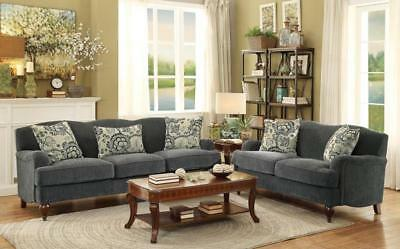 Abby New Transitional Gray Microfiber Sofa Couch Set Living Room Furniture