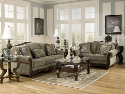 NORWICH   Traditional Wood Trim U0026 Fabric Sofa Couch U0026 Loveseat Set Living  Room