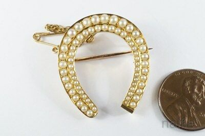 LOVELY ANTIQUE LATE VICTORIAN ENGLISH 15K GOLD PEARL HORSE SHOE BROOCH c1890