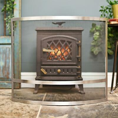 """""""Claybridge Square"""" Contemporary Arched Stainless Steel Fire Screen"""