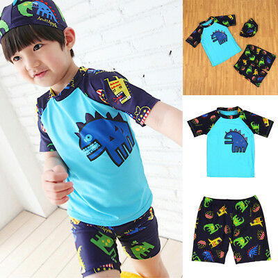 Kids Swimming Suit 2 Piece Dinasour Swimsuit For 3-8Y Boy Child Bathing Swimwear
