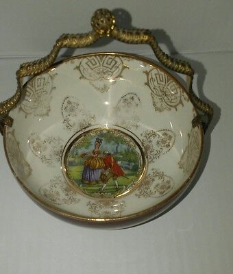 Antique French Dish with Gilt Basket Stand & Handle