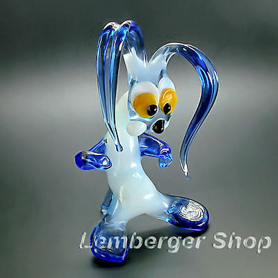 Glass figurine drunk rabbit made of colored glass. Height 9 cm / 3.6 inch!
