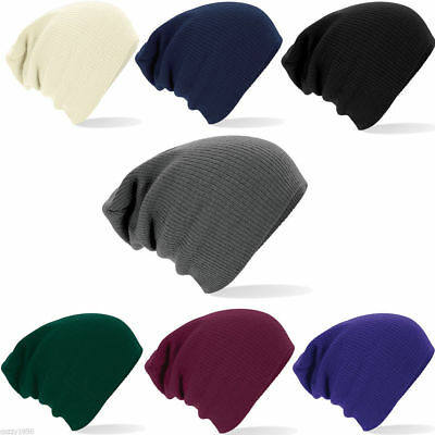 USA Oversized Slouch Long Beanie Hat Ribbed Knit Hat Beechfield One Size