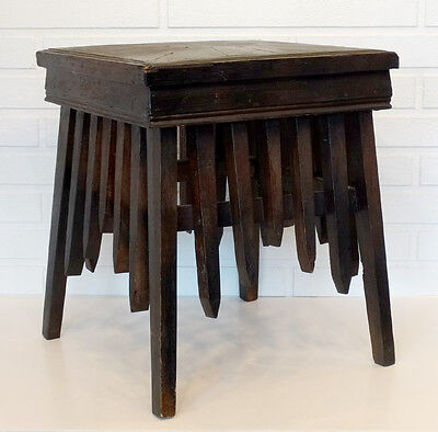 ANTIQUE Vintage FOLK TRAMP ARTS & Crafts TABLE PLANT STAND Carved Parquetry Wood