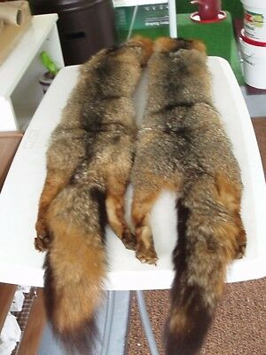 Vintage Fox Real Fur Collar Neck Wrap Stole With Fox Pelts With Head Tails Feet
