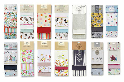 Cooksmart Tea Towels Kitchen Cotton Dish Drying 3 Pack All Designs