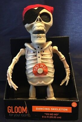 "Dancing Skeleton - Pirate walks Yo Ho Ho and a bottle of rum 8.5"" HALLOWEEN NWT"