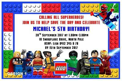 1 X LEGO SUPERHEROES BIRTHDAY PARTY PERSONALISED INVITATIONS FREE MAGNETS