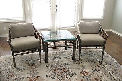 Vintage McGuire Rattan Lounge Chairs & Glass Top Table