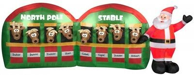 Inflatable Christmas Decoration 11 Ft. Santa Reindeer In Stable Outdoor  Airblown