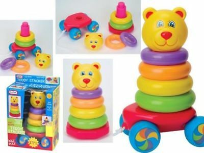 Pull Along Stacking Rings Teddy Bear Roly Poly Baby & Toddler Learning Toy New