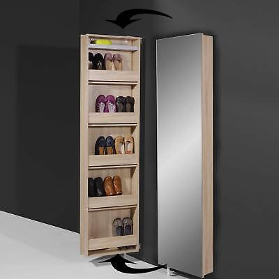 schuhschrank mehrzweckschrank wei mit spiegel drehbar 50 195 cm verstellbar eur 189 00. Black Bedroom Furniture Sets. Home Design Ideas