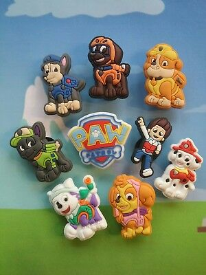 Paw Patrol Shoe Charms USA Shipping 9 Pieces Skye Everest Chase Rubble