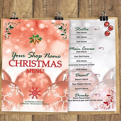 Christmas Dinner Lunch Menus Borders Cards Personalise Your Wording table menu