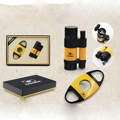 COHIBA Cigar Lighter Cutter Personalized 3 Torch Jet Flame With  Punch Yellow