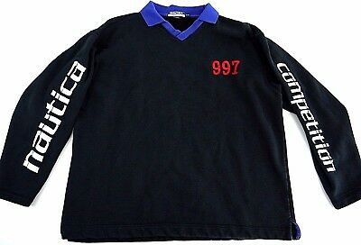 VINTAGE 90s NAUTICA COMPETITION mens sweatshirt L pullover spellout sleeves 997