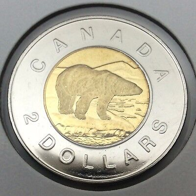 1998 Canada Brilliant Two Dollar Toonie UNC Uncirculated Coin Not In Case C284