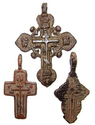 Ancient lot of 3 bronze Believer crosses Middle Ages. #100