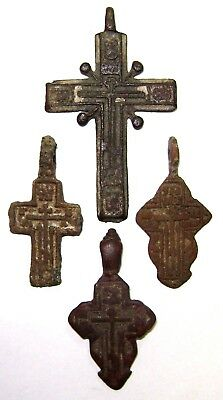 Ancient lot of 4 bronze Believer crosses Middle Ages. #101